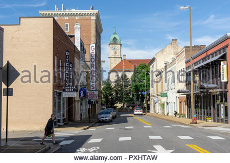 East Market Street leading to the Courthouse in the downtown historic district in Harrisonburg, Virginia USA - Stock Photo