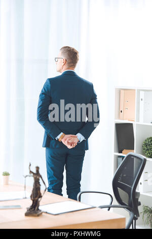 back view of lawyer standing in office and looking at window - Stock Photo