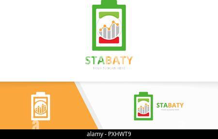 Vector battery and graph logo combination. Energy and diagram symbol or icon. Unique accumulator and chart logotype design template. - Stock Photo