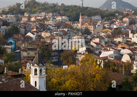 Scenic view of old town Plovdiv, Bulgaria - Stock Photo