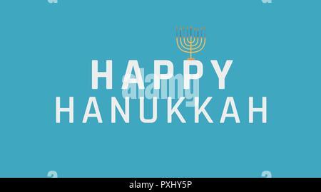 Hanukkah holiday greeting with menorah icon and english text 'Happy Hanukkah'. flat design. - Stock Photo