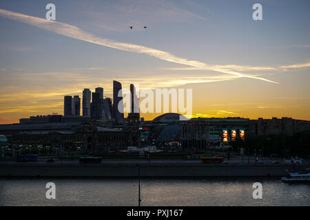 Moscow, Russia - view of the business center of Moscow city at noon - Stock Photo