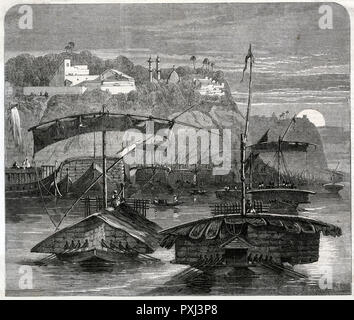 Cotton fleet on the Ganges, casting off from Mirzapore in the early morning      Date: 1862 - Stock Photo