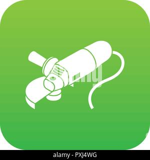 Angle grinder icon green vector - Stock Photo