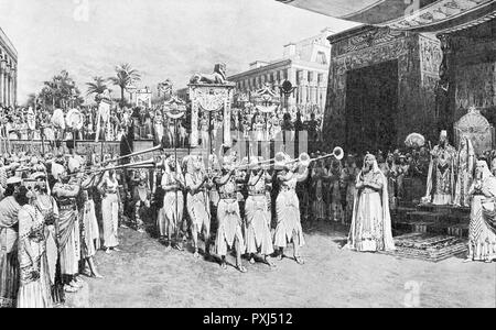 AIDA Act II, Scene 3: the Egyptian troops return victorious, in a large and noisy procession     Date: early 20th century - Stock Photo