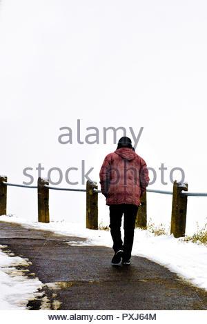man walking along a street under snow in winter - Stock Photo