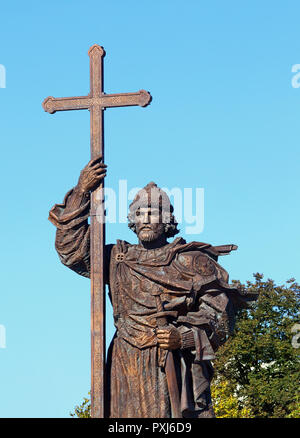 Moscow sculptural monument to baptizer of Russia Prince Vladimir in bronze - Stock Photo