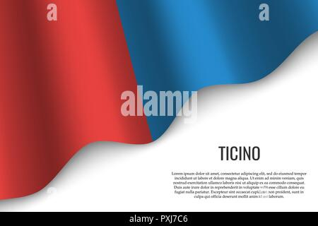 waving flag of Ticino is a region of Switzerland on white background. Template for banner or poster. - Stock Photo
