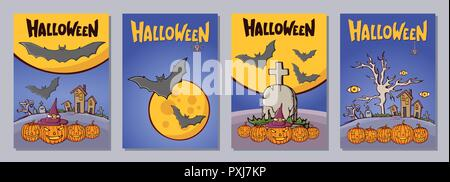 Halloween hand drawn invitation or greeting cards set with lattering. Color cartoon shapes on Halloween theme. Tombs, crosses, pumpkins, bats, houses, - Stock Photo