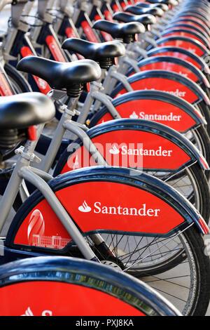 Boris Bikes, Santander Cycles Bicycle Hire Scheme, London, United Kingdom - Stock Photo
