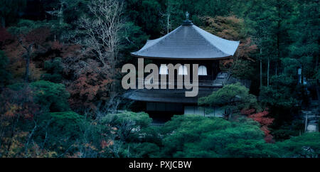 Ginkaku-ji, Temple of the Silver Pavilion, Kannon-den hall roof surrounded by trees in a panoramic aerial autumn scenery. Jisho-ji temple in Sakyo-ku, - Stock Photo