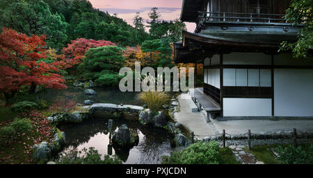 Ginkaku-ji, Temple of the Silver Pavilion, Zen garden with a pond at Kannon-den hall in autumn scenery, Jisho-ji, Sakyo-ku, Kyoto, Japan 2017 - Stock Photo