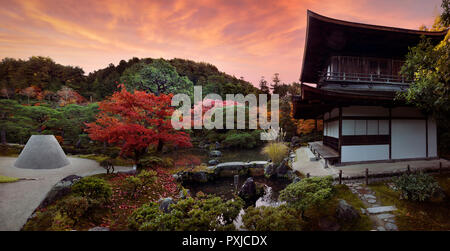 Ginkaku-ji, Temple of the Silver Pavilion, Zen garden with Kannon-den hall, Kogetsudai, a sand structure symbolizing Mount Fuji and a pond in a beauti - Stock Photo