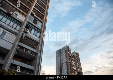 Traditionnal communist housing in the suburb of Belgrade, in New Belgrade. These kind of high rises are symbols of the brutalist architecture  Picture - Stock Photo