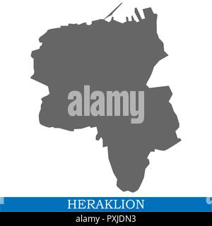 High Quality map of Heraklion is a city of Greece, with borders of districts - Stock Photo