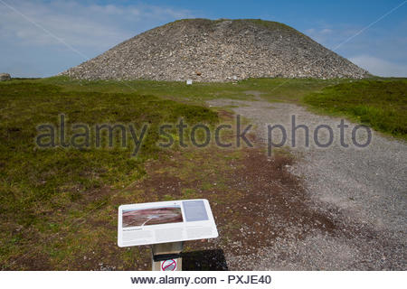 Graphic sign with information about Queen Maeve's Grave Cairn on the summit of Knocknarea, the Neolithic passage tomb cairn measures some 180 feet acr - Stock Photo