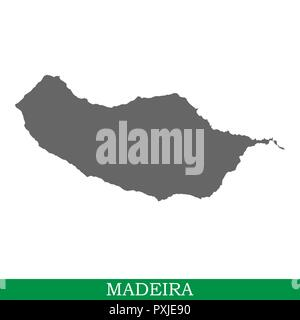 High quality map of Madeira is a island in Portugal - Stock Photo