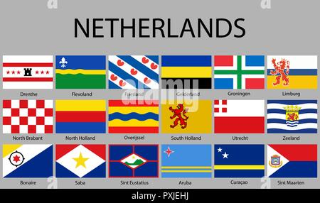 all Flags of regions of Nerherlands. Vector illustraion - Stock Photo