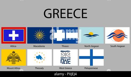 Flags of regions of Greece. Vector illustraion - Stock Photo