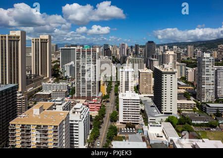 The hotel architecture in Waikiki beach  Honolulu Hawaii on 5th of October 2018