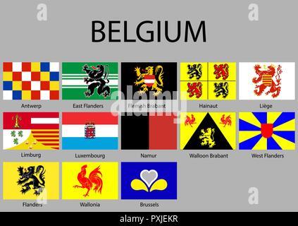 all Flags of regions of Belgium. Vector illustraion - Stock Photo