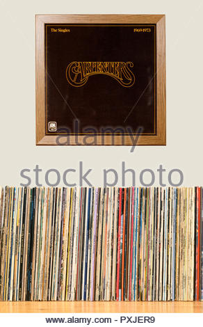 LP Collection and framed The Carpenters album The Singles 1969-1973, England - Stock Photo