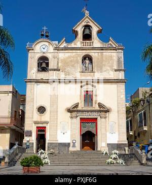 The Church of San Giovanni Battista, Chiesa Parrocchiale San Giovanni Battista, in the fishing village of Aci Trezza - Stock Photo