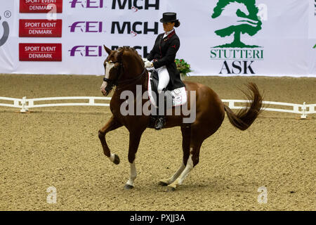 Herning, Denmark. 21st October, 2018. Thamar Zweistra of Holland riding Hexagon's Double during the FEI World Cup 2018 in freestyle dressage in Denmark. Credit: OJPHOTOS/Alamy Live News - Stock Photo