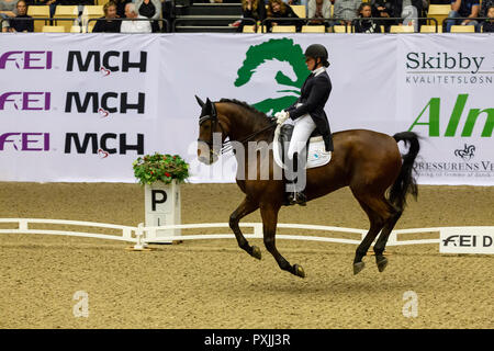 Herning, Denmark. 21st October, 2018. Sakia Maertens of Holland riding Legend of Loxley during the FEI World Cup 2018 in freestyle dressage in Denmark. Credit: OJPHOTOS/Alamy Live News - Stock Photo