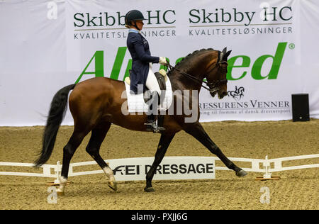 Herning, Denmark. 21st October, 2018. Rose Mathiesen of Sweden riding Zuidenwind 1187  during the FEI World Cup 2018 in freestyle dressage in Denmark. Credit: OJPHOTOS/Alamy Live News - Stock Photo