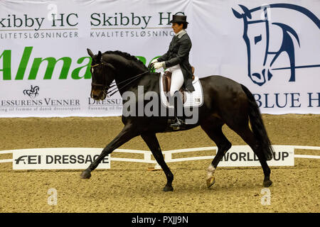 Herning, Denmark. 21st October, 2018. Tinna Vilhrlmson of Sweden riding Don Aiurella  during the FEI World Cup 2018 in freestyle dressage in Denmark. Credit: OJPHOTOS/Alamy Live News - Stock Photo