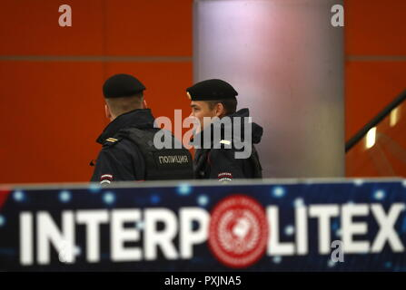 Moscow, Russia. 23rd Oct, 2018. MOSCOW, RUSSIA - OCTOBER 23, 2018: Policemen at the Interpolitex 2018 International Exhibition of Means of State Security Provision held at Moscow's VDNKh Exhibition Centre. Stanislav Krasilnikov/TASS Credit: ITAR-TASS News Agency/Alamy Live News - Stock Photo