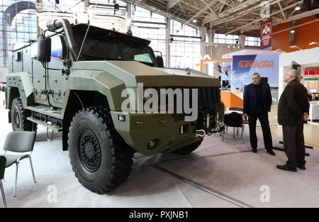 Moscow, Russia. 23rd Oct, 2018. MOSCOW, RUSSIA - OCTOBER 23, 2018: An armoured vehicle on the KamAZ stand at the Interpolitex 2018 International Exhibition of Means of State Security Provision held at Moscow's VDNKh Exhibition Centre. Stanislav Krasilnikov/TASS Credit: ITAR-TASS News Agency/Alamy Live News - Stock Photo