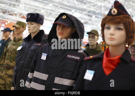 Moscow, Russia. 23rd Oct, 2018. MOSCOW, RUSSIA - OCTOBER 23, 2018: Police uniforms on display at the Interpolitex 2018 International Exhibition of Means of State Security Provision held at Moscow's VDNKh Exhibition Centre. Stanislav Krasilnikov/TASS Credit: ITAR-TASS News Agency/Alamy Live News - Stock Photo