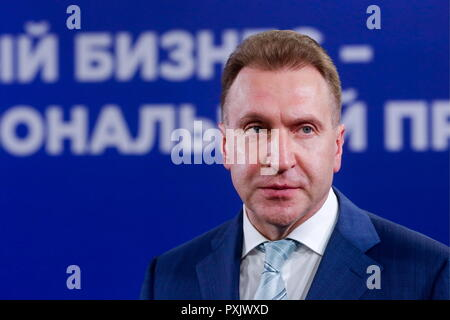 """Moscow, Russia. 23rd Oct, 2018. MOSCOW, RUSSIA - OCTOBER 23, 2018: The Chairman of Vnesheconombank Igor Shuvalov at the """"Small Business as a National Project!"""" Forum organised at VDNKh by Opora Rossii [Support of Russia], a public organisation of small and medium enterprises. Mikhail Metzel/TASS Credit: ITAR-TASS News Agency/Alamy Live News - Stock Photo"""