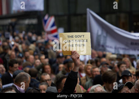 London, UK. 23rd Oct 2018. A placard held up by a supporter of Tommy Robinson outside the old Bailey. Credit: Kevin J. Frost/Alamy Live News - Stock Photo