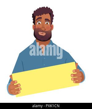 African man holding blank card. African american man with board. Illustration - Stock Photo
