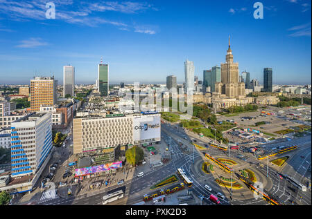 Warsaw Centrum, aerial view of the very heart of the polish capital, with Rondo Dmowskiego roundabout, the Neomodern Warsaw Spire and the Russian Wedi - Stock Photo