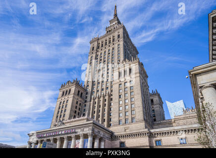 view of the soc-realist Russian Wedding Cake style Palace of Culture and Science, Warsaw, Poland - Stock Photo