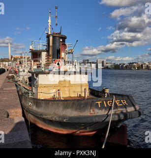 Old rusty boat called Tiger in Hammarby sea, Stockholm, Sweden - Stock Photo
