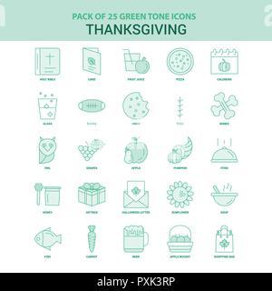 25 Green Thanksgiving  Icon set - Stock Photo