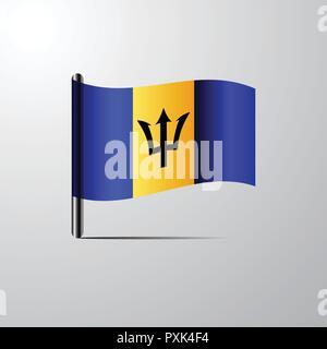 Barbados waving Shiny Flag design vector - Stock Photo