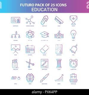 25 Blue and Pink Futuro Education Icon Pack - Stock Photo