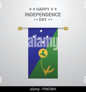 Christmas island Independence day hanging flag background - Stock Photo