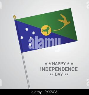 Christmas island Independence day typographic design with flag vector - Stock Photo
