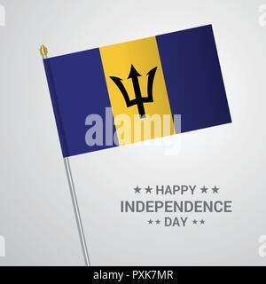 Barbados Independence day typographic design with flag vector - Stock Photo
