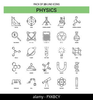 Physics Line Icon Set - 25 Dashed Outline Style - Stock Photo