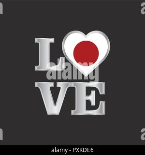 Love typography Japan flag design vector beautiful lettering - Stock Photo
