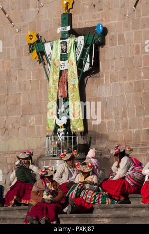 In the Plaza de Armas in Puno. In the background the baroque Cathedral of 1757 - Stock Photo