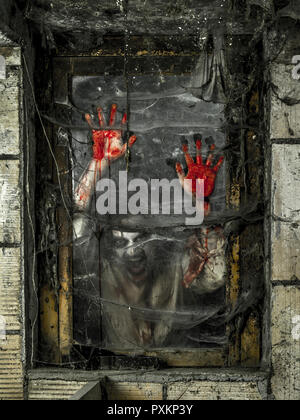 Photo of a hungry zombie staring at you through a dirty window. - Stock Photo